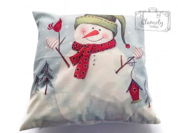 CUSHION COVER PILLOW SNOWMAN IN GREEN HAT